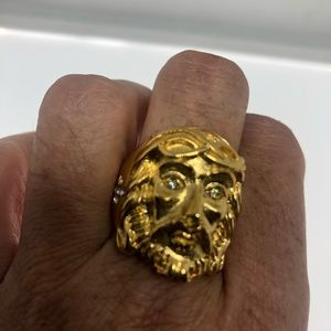 Vintage Jesus crown of thorns golden men's ring